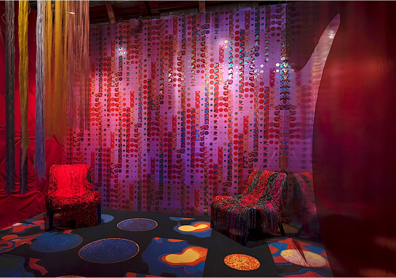 Liz Collins' second room plays with shapes and textures to create a super trippy experience. A custom colorway of Permanent Sunset works the walls; if you're into it just give us a ring and we'll make it happen.