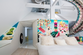 Everland mural in the guest bedroom