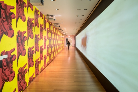 Sturtevant's version of Warhol's Cow wallpaper lines a long hallway that also features one of her less derivative works.