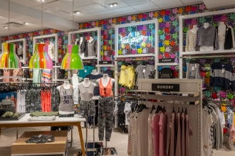 Small Flowers in Spectrum adds a cheery backdrop to the Women's Department at Bloomingdales