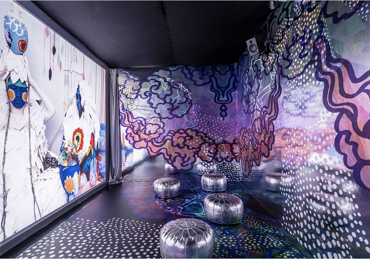Saya Woolfalk' wowed with juxtapositions of projections and super energetic, reflective wallpaper we custom created with her. While not in our main line, we're happy to recreate this design for you; just give us a shout.