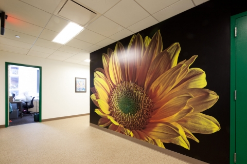 You can feel the freshness of this custom digital sunflower wallpaper