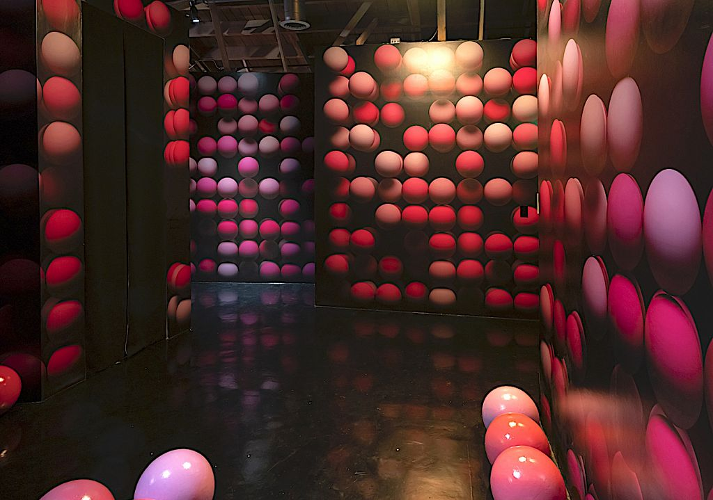 Dozens of paint- and resin-covered foam balls and custom wallpaper we created with Town and Concrete founder Cyril Lancelin compose her Sphere Stack space. Call us if you're in the market for a ballsy wallpaper and we'll create it for you.
