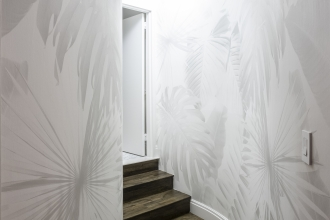 This hallway features a custom version of our Wild Thing design.