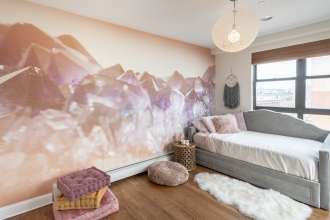 Welcome to Indigo's Boho Oasis! This tweenager loves having Soft Quartz on her wall.