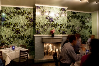 Custom colored Iris is a beautiful backdrop to dine by