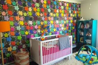 Sweet little Ruby's cheery bedroom featuring Full Spectrum Small Flowers.