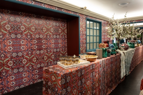 This wallpaper was a custom design done for Bergdorf Goodman. It was created to look like a Persian Rug