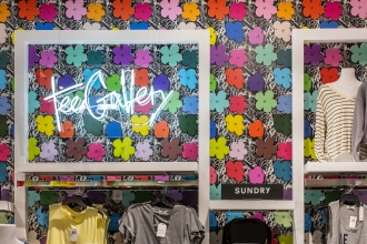 Our fun Small Flowers wallpaper in Full Spectrum is the perfect way for Bloomingdales to welcome spring into their store