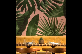 We're digging the taste of the tropics that Big Time Design infused into Miami-based restaurant, CVLTVRA, with our   Wild Thing wallpaper. Photography by: Craig Denis Creative.