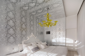 Custom white on silver City Park on the master bedroom walls and ceiling