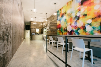The Coral Gables location features Galapagos wall flanked by Cubenisimo