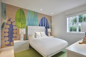 In one of her recent residential projects, Flavor Paper friend and collaborator, Ghislaine Viñas, designed the interior of a beautiful house in Montauk.  Several of the rooms are lined with our papers and they couldn't look better. Organic textures and shades of blue and green make this bedroom wallpaper a hit.                                        Photo Credit: Garrett Rowland